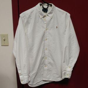 White Ralph Lauren Oxford Button Down Shirt